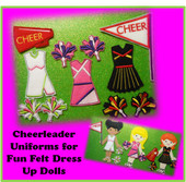 In The Hoop Cheerleader Uniform Embroidery Machine Design Set for Dress Up Fun Dolls