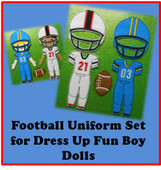 In The Hoop Football Uniform Embroidery Machine Design Set for Dress Up Fun Boy Dolls
