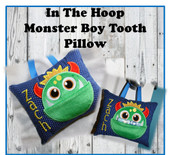 In the Hoop Tooth Monster Boy Pillow Embroidery Machine Design