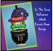 In The Hoop Halloween Count Down Witch Embroidery Machine Design