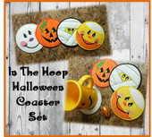 In The Hoop Halloween Coaster Embroidery Machine Design Set