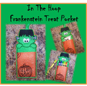 In The Hoop Frankenstein Treat Pocket Embroidery Machine Design