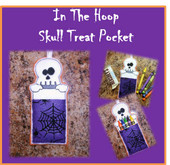 In The Hoop Skull Treat Pocket Embroidery Machine Design