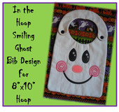 In The Hoop Smiling Ghost Bib Embroidery Machine Design for 8x10 Hoop.