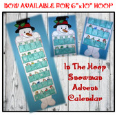 In The Hoop Snowman Advent Calendar Embroidery Machine Design