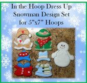 In The Hoop Dress Up Snowman Embroidery Machine Design for 5x7 Hoops