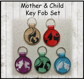 In the Hoop Mother and Child Key Fob Embroidery Machine Design Set