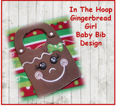 In The Hoop Ginger Bread Girl Baby Bib Embroidery Machine Design for 8x10 Hoop