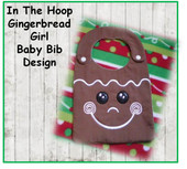 IN The Hoop Ginger Bread Boy Baby Bib Embroidery Machine Design for 8x10 hoop