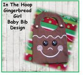 IN The Hoop Ginger Bread Boy Baby Bib Embroidery Machine Design for 8x10 hoop