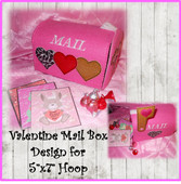 Valentine Mailbox Embroidery Machine Design For 5x7Hoop