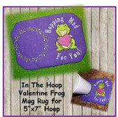 "In The Hoop Frog Holding Heart Mug Rug Embroidery Machine Design for 5""x7"" Hoop"