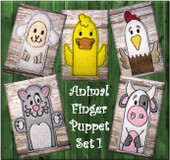In The Hoop Felt Animal Finger Puppet Embroidery Machine Design Set 1