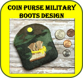 In The Hoop Military Boots Coin Purse Embroidery Machine Design