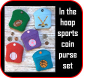 In The hoop Sports Coin Purse Embroidery Machine Design Set