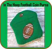 In The Hoop Football Coin Purse Embroider Machine Design