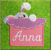 Bunny With Box Applique Embroidery Machine Design