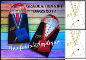 In The Hoop Graduation 2017 Gift Bag Embroidery Machine Design Set