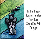 In The Hoop Boston Terrier Snap Key Fob Embroidry Machine Design Set