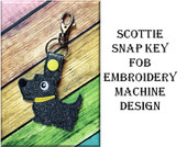 In The Hoop Scottie Key Fob Embroidery Machine Design