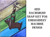 In The Hoop Red Dachshund Dog Snap Key Fob Embroidry Machine Design