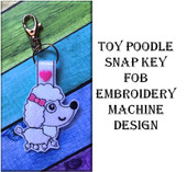 In The Hoop Toy Poodle Key Fob Embroidery Machine Design