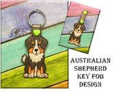 In The Hoop Australian Shepherd Key Fob Embroidery Machine Design