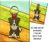 In The Hoop Border Collie Key Fob Embroidery Machine Design