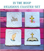 In The Hoop Religious Coaster Embroidery Machine Design Set