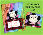 In The Hoop Monkey Door Sign Embroidery Machine Design