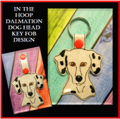 In The Hoop Dalmation Head Key Fob Embroidery Machine Design