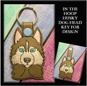 In the Hoop Husky Head Key Fob Embroidery Machine Design