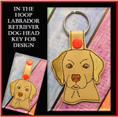 In The Hoop Labrador Retriever Head Key Fob Embroidery Machine Design