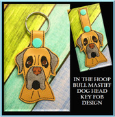 In The Hoop Bull Mastiff Dog Head Key Fob Embroidery Machine Design