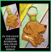In The Hoop Golden Retriever Head Key Fob Embroidery Machine Design