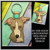 In The Hoop Greyhound Head Key Fob Embroidery Machine Design