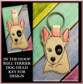 In The Hoop Bull Terrier Dog Head Key Fob Embroidery Machine Design