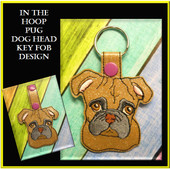 In The Hoop Pug Dog Head Key Fob Embroidery Machine Design