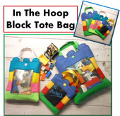 In The Hoop Block Tote Bag Embroidery Machine Design Set