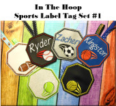 In the hoop Sports Label Set #1 Embroidery Machine Design Set