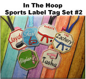 In the hoop Sports Label Set #2 Embroidery Machine Design Set