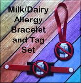 In The Hoop Dairy/Milk Allergy Tag & Bracelet Embroidery Machine Design Set