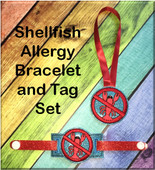 In The Hoop Shellfish Allergy Tag & Bracelet Embroidery Machine Design Set