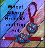 In The Hoop Wheat Allergy Tag & Bracelet Embroidery Machine Design Set