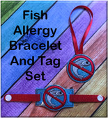 In The Hoop Fish Allergy Tag & Bracelet Embroidery Machine Design Set