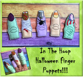 In The Hoop Halloween Finger Puppet Embroidery Machine Design Set
