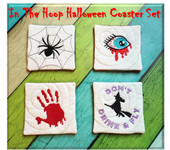 In The Hoop Halloween Coaster Embroidery Machine Design Set 2015