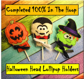 In the hoop Halloween Head Lollipop Cover Design Embroidery Design Set