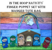 In The Hoop Nativity Finger Puppet & Manger Tote Embroidery Machine Design Set