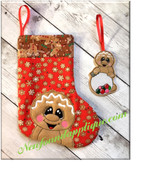 In The Hoop Gingerbread Stocking and Ornament Embroidery Design Set